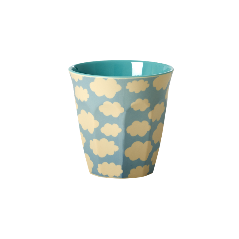 Rice // Melamine Medium Cup Two Tone with Cloud Print