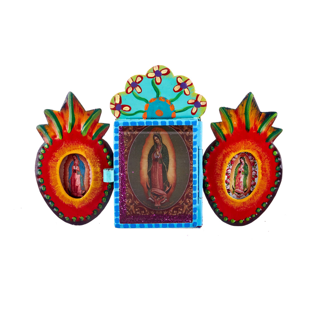 Mexican Handcrafts // Double Anatomical Heart Guadalupe Mary