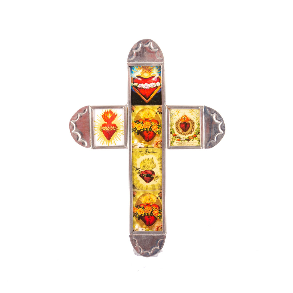 Mexican Handcrafts // Mini Tin Sacred Heart Cross I