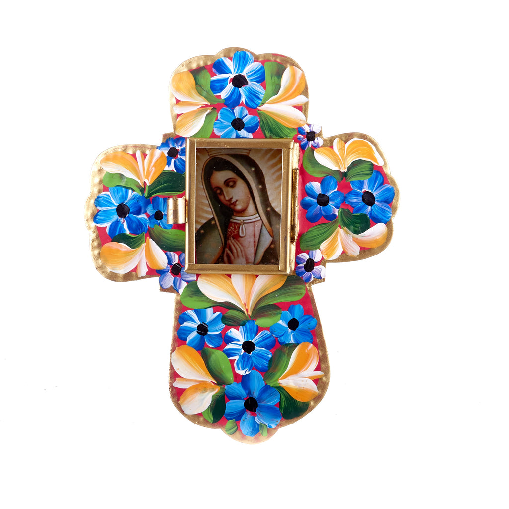 Mexican Handcrafts // Pink Floral Cross Ornament / Wall Hanging
