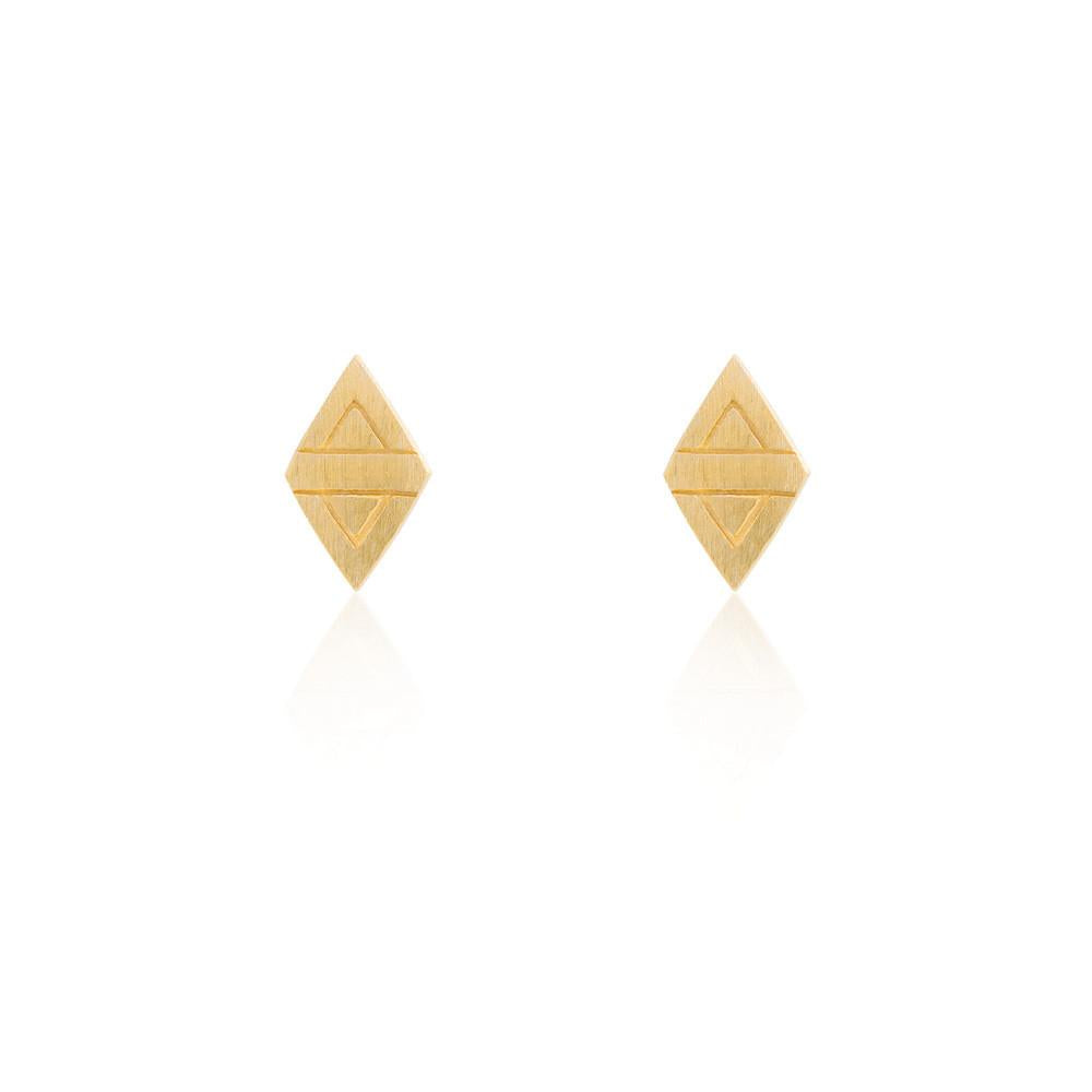 Linda Tahija // Rhombus Stud Earrings - Yellow Gold Plated Sterling Silver