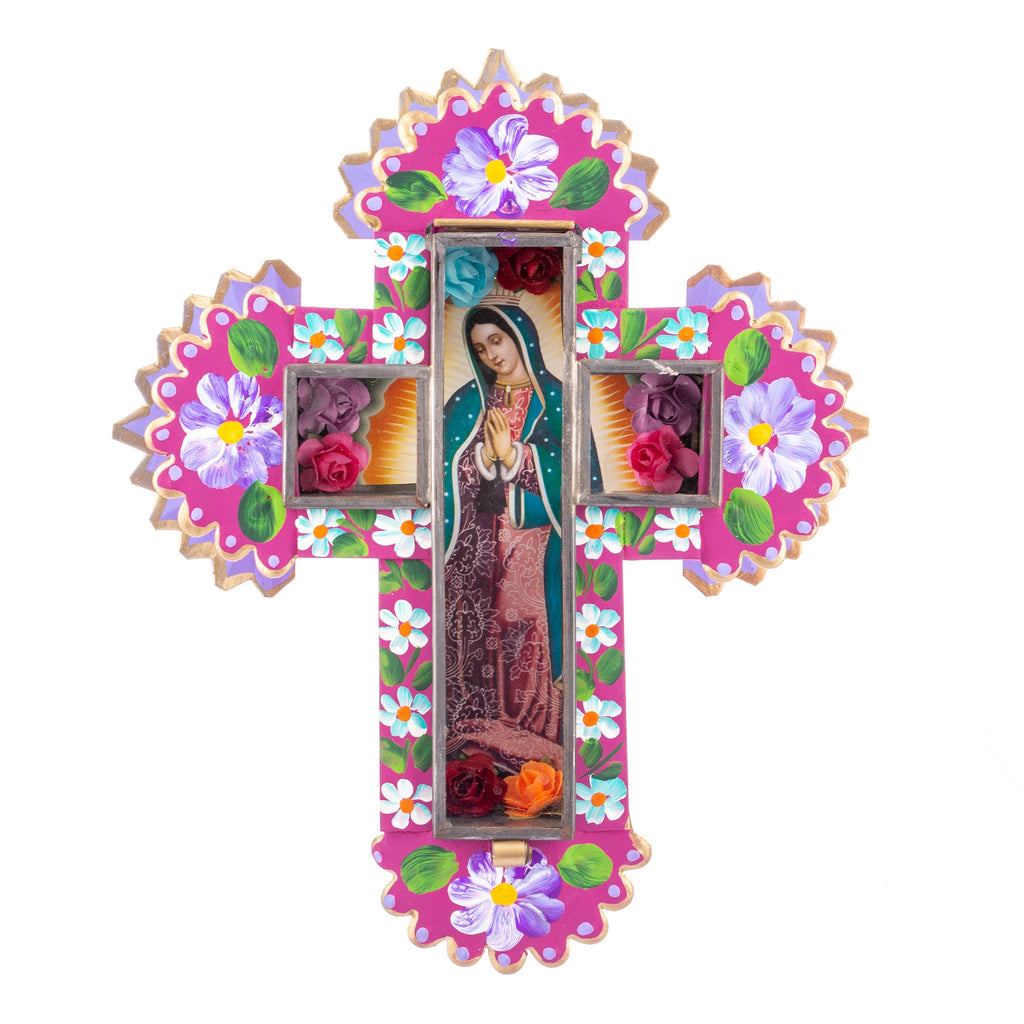 Mexican Handcrafts // Large Mary Wall Cross - Pink