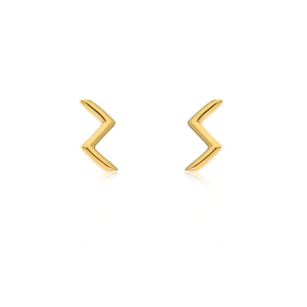 Linda Tahija // Zig Zag Stud Earrings - Yellow Gold Plated Sterling Silver