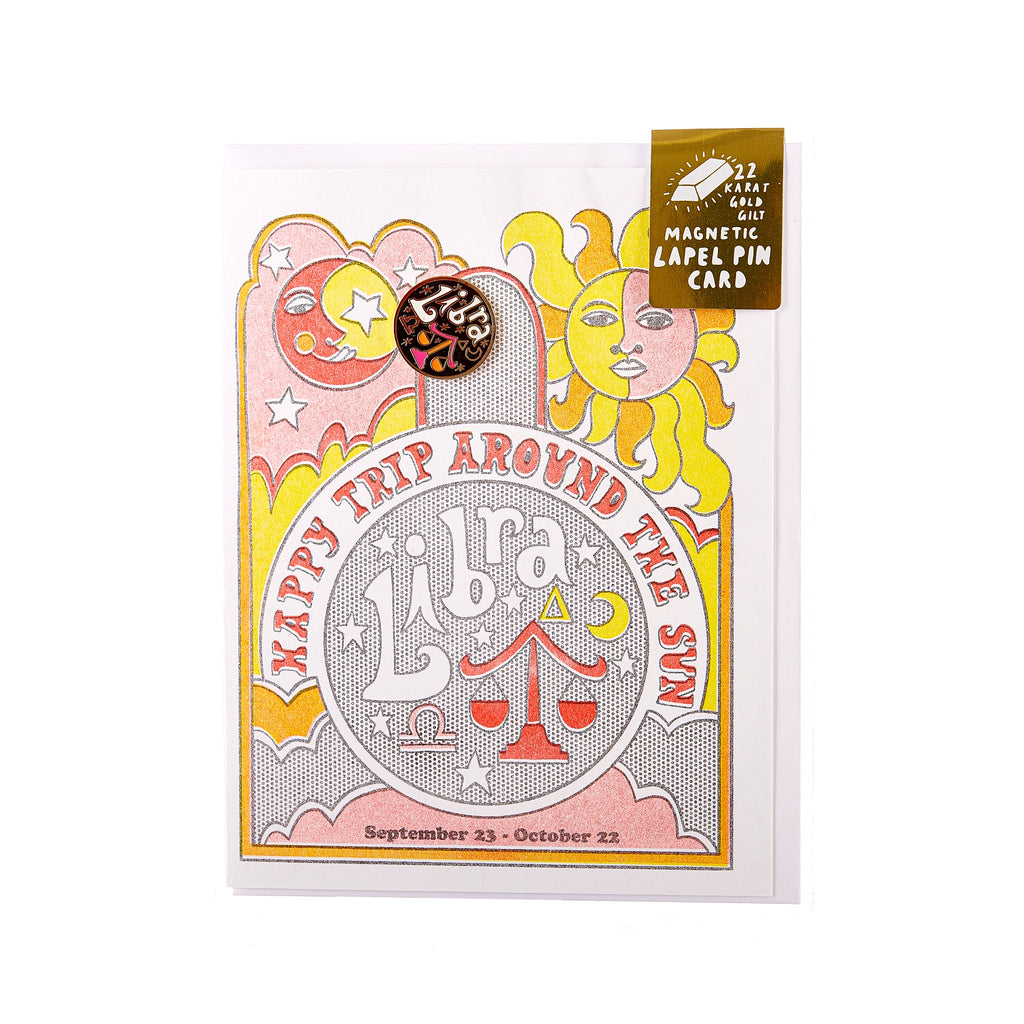 Yellow Owl // Magnetic Pin Greeting Card - Libra