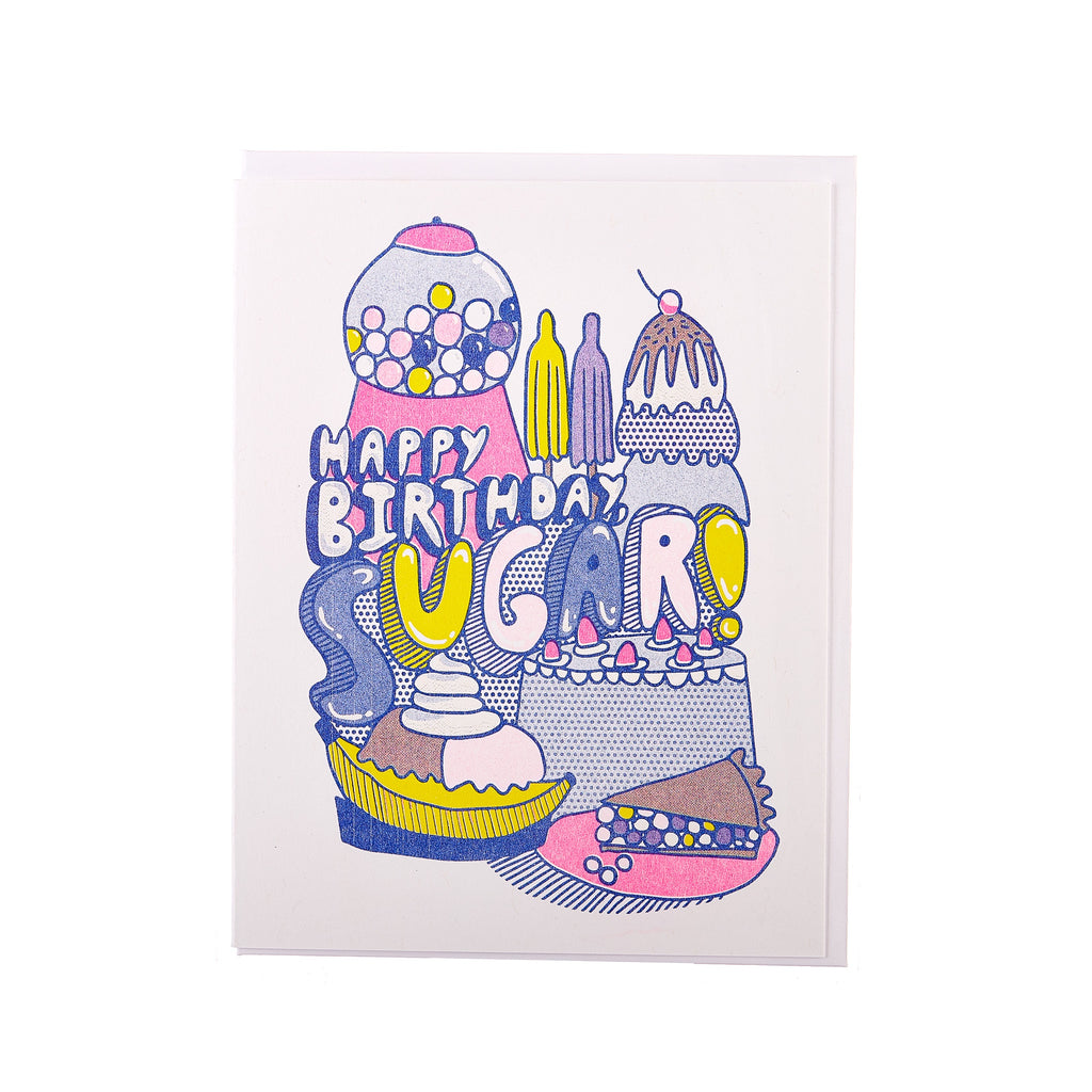 Yellow Owl // Happy Birthday Sugar Greeting Card