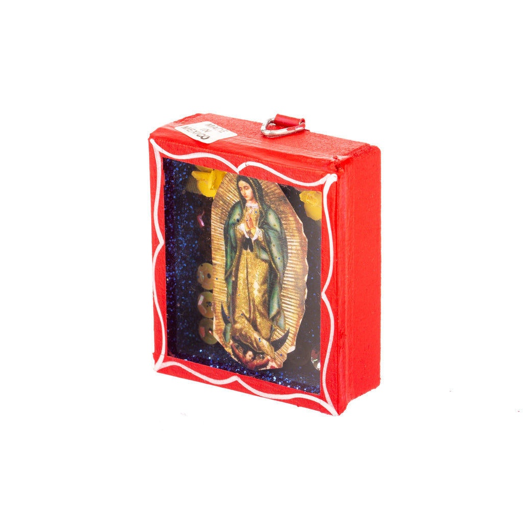 Mexican Handcrafts // Mini Guadalupe Mary Glass Box / Wall Hanging III
