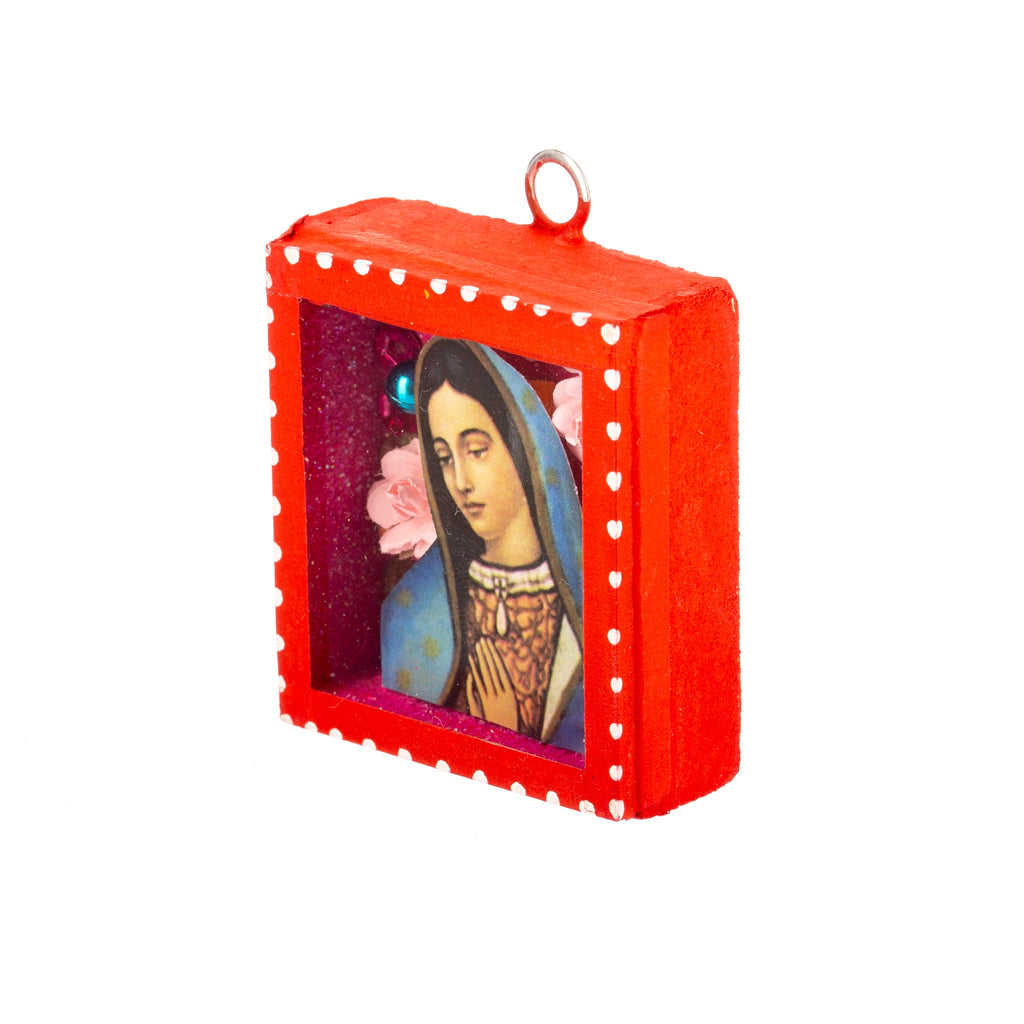 Mexican Handcrafts // Mini Mary Glass Box / Wall Hanging I
