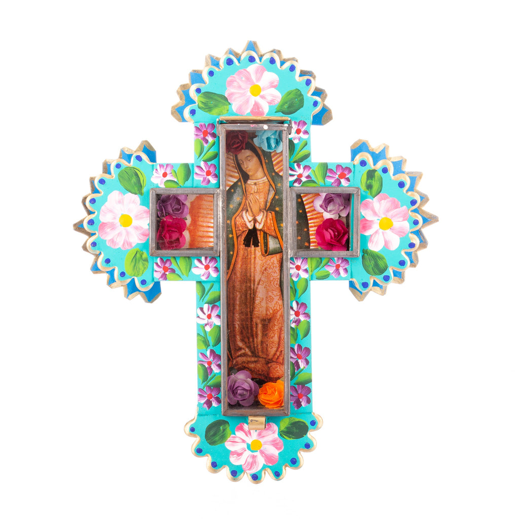 Mexican Handcrafts // Large Mary Wall Cross - Green