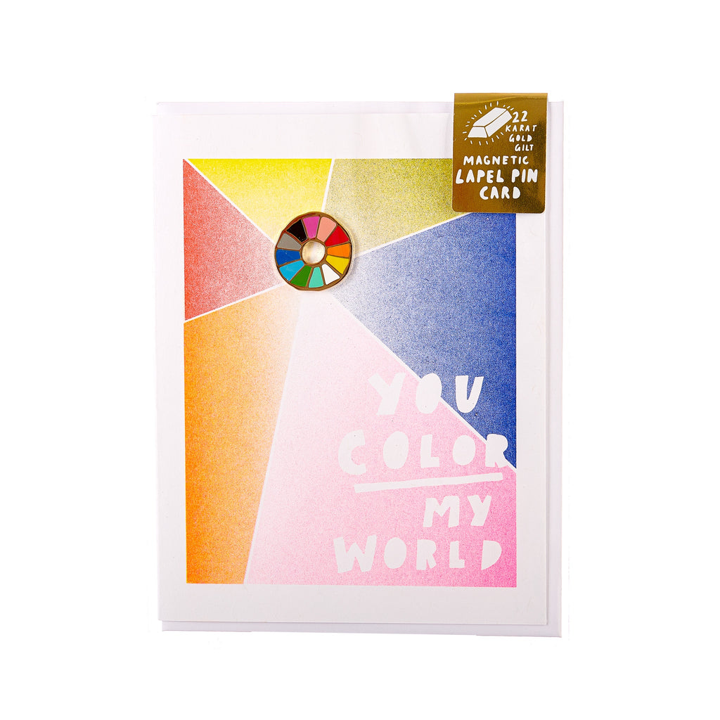 Yellow Owl // Magnetic Pin Greeting Card - You Color My World