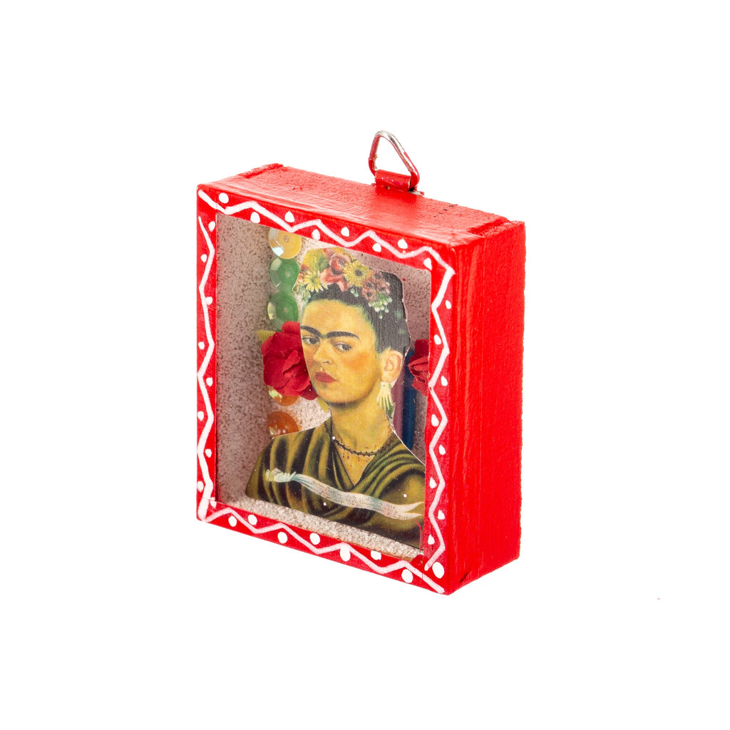 Mexican Handcrafts // Mini Frida Glass Box / Wall Hanging