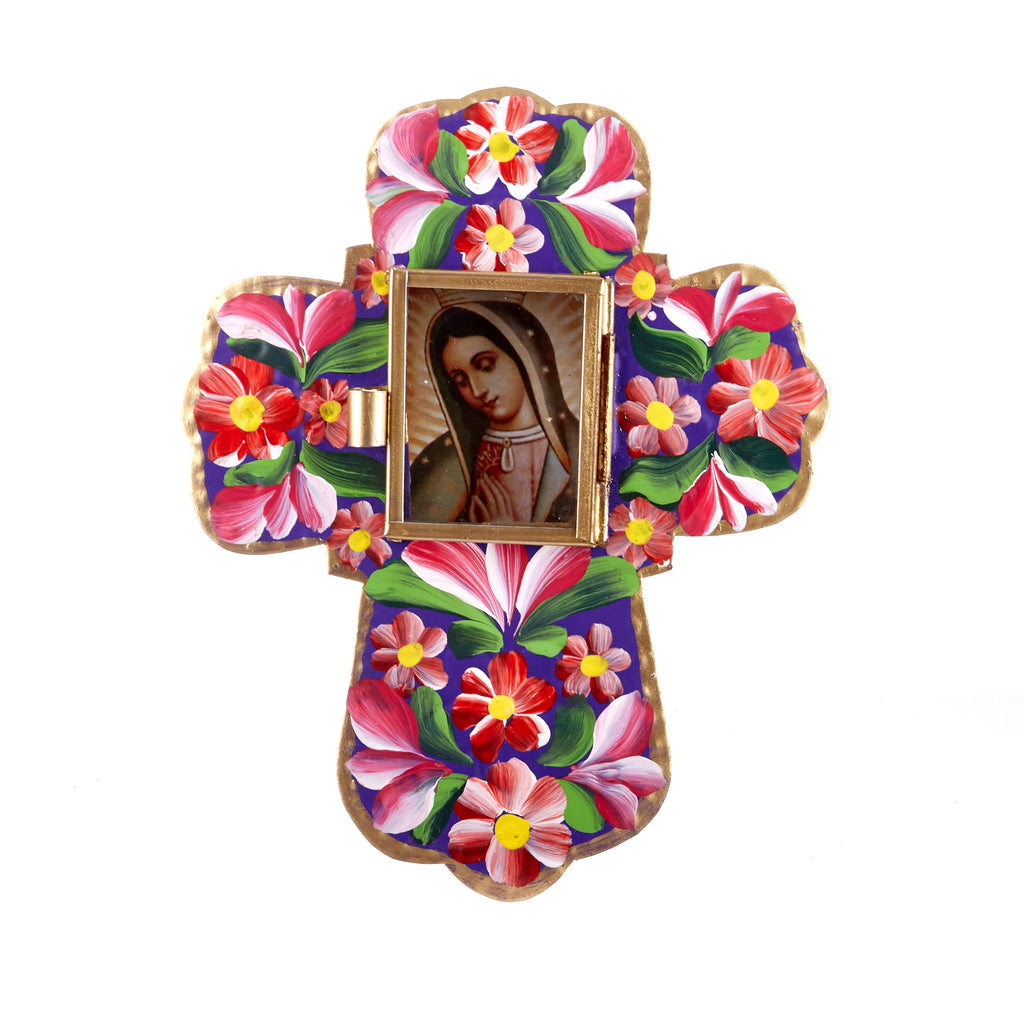 Mexican Handcrafts // Purple Floral Cross Ornament / Wall Hanging