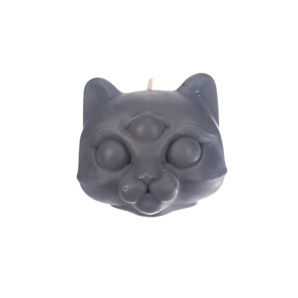 You, Me & Bones // Cat Head Candle - Grey