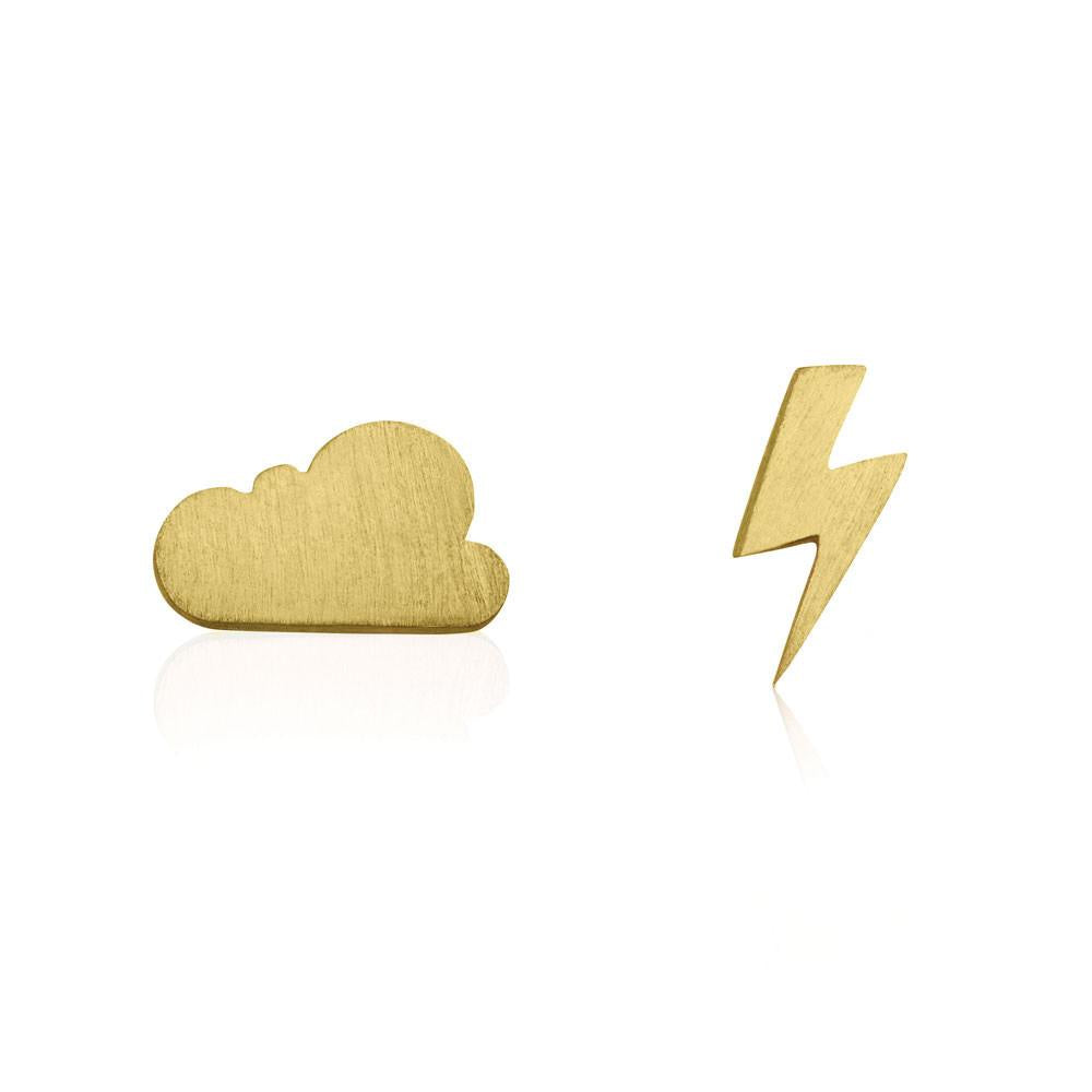 Linda Tahija // Cloud & Bolt Stud Earrings - Yellow Gold Plated Sterling Silver