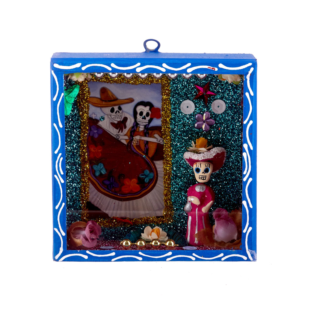 Mexican Handcrafts // Day Of The Dead Blue Ornament Box
