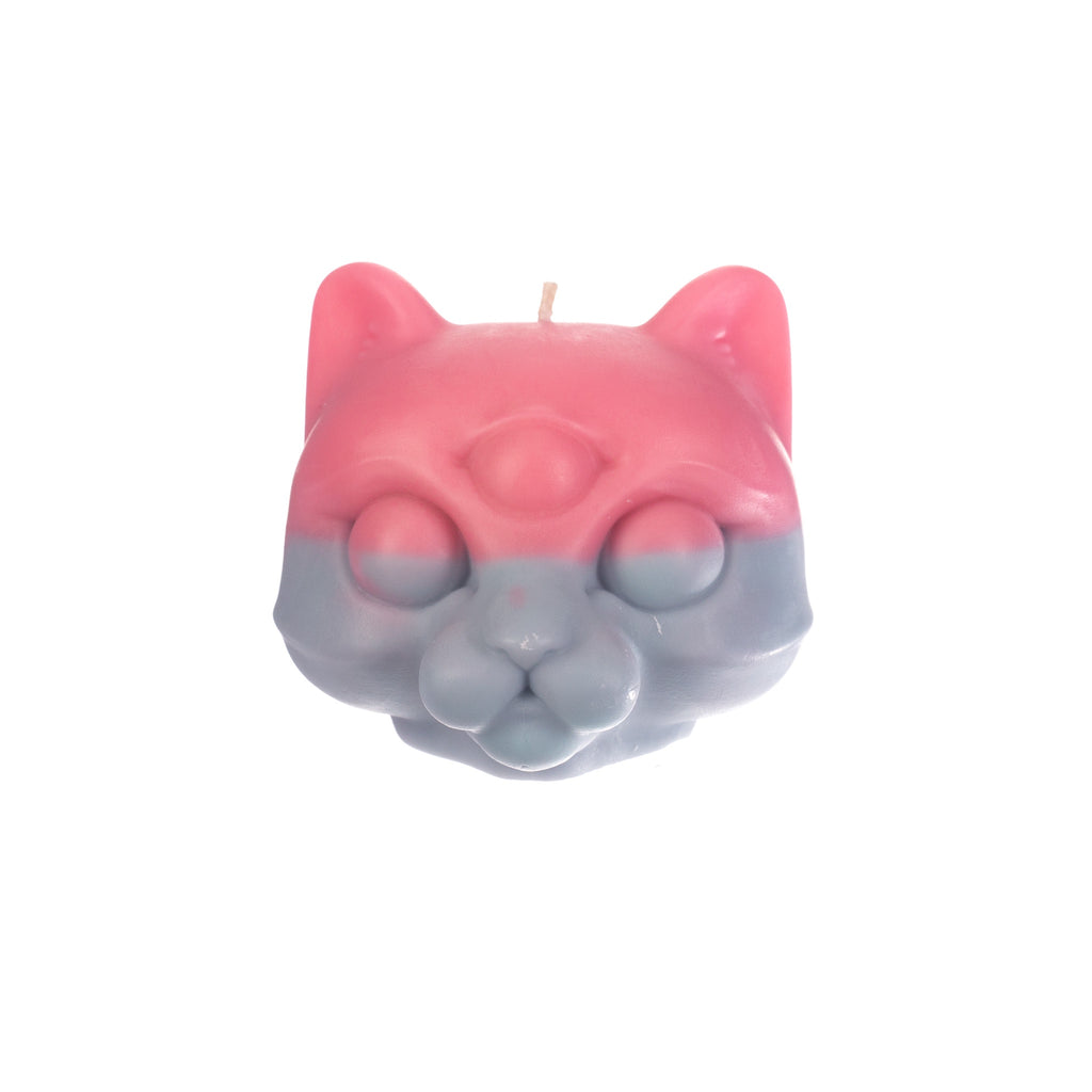 You, Me & Bones // Cat Head Candle - Pink and Blue