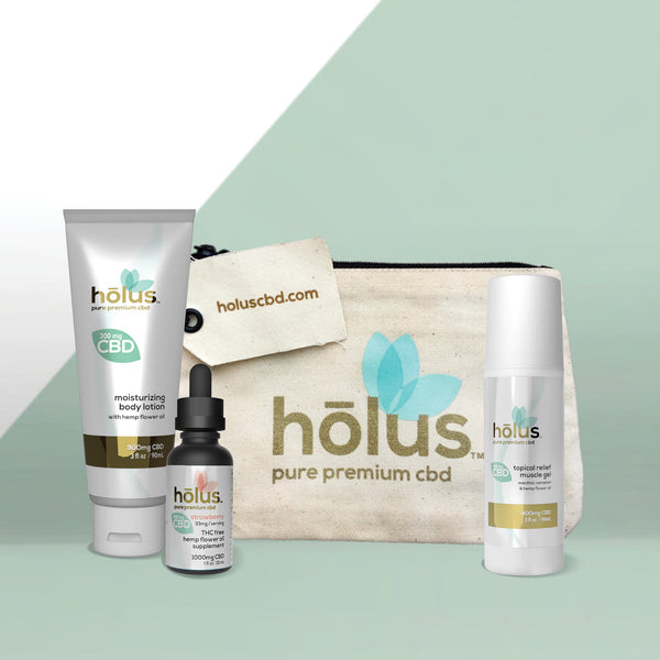 hōlus pure premium CBD Introductory Kit includes moisturizing body lotion, CBD muscle roll-on, and a 1000mg THC-Free Strawberry Tincture.