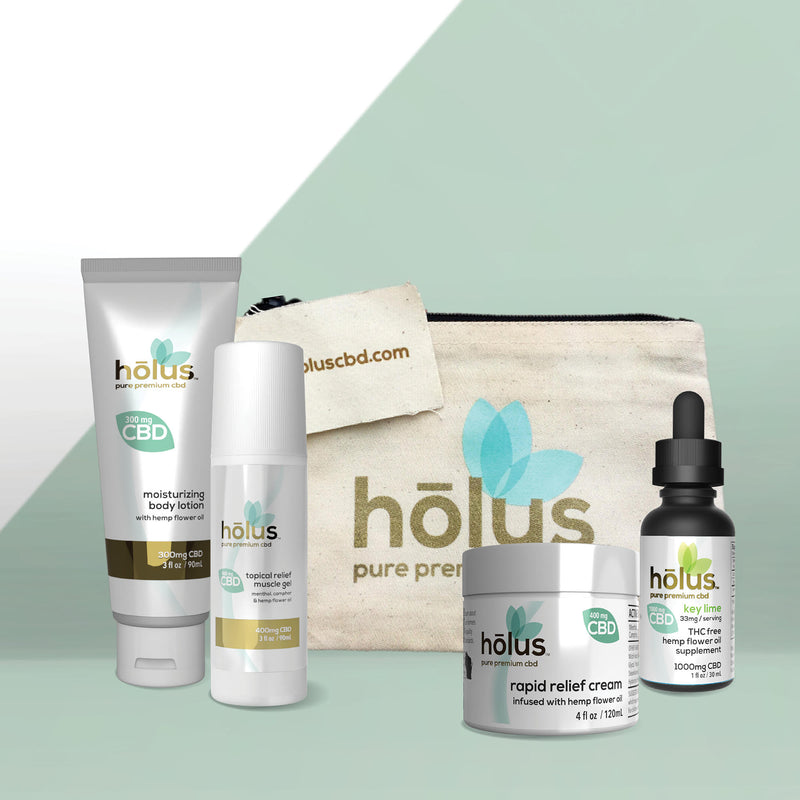 hōlus pure premium CBD Sports Recovery Kit includes three CBD topicals to provide relief at the source. This collection also features a 1000mg THC-Free Key Lime Tincture to support an active lifestyle.
