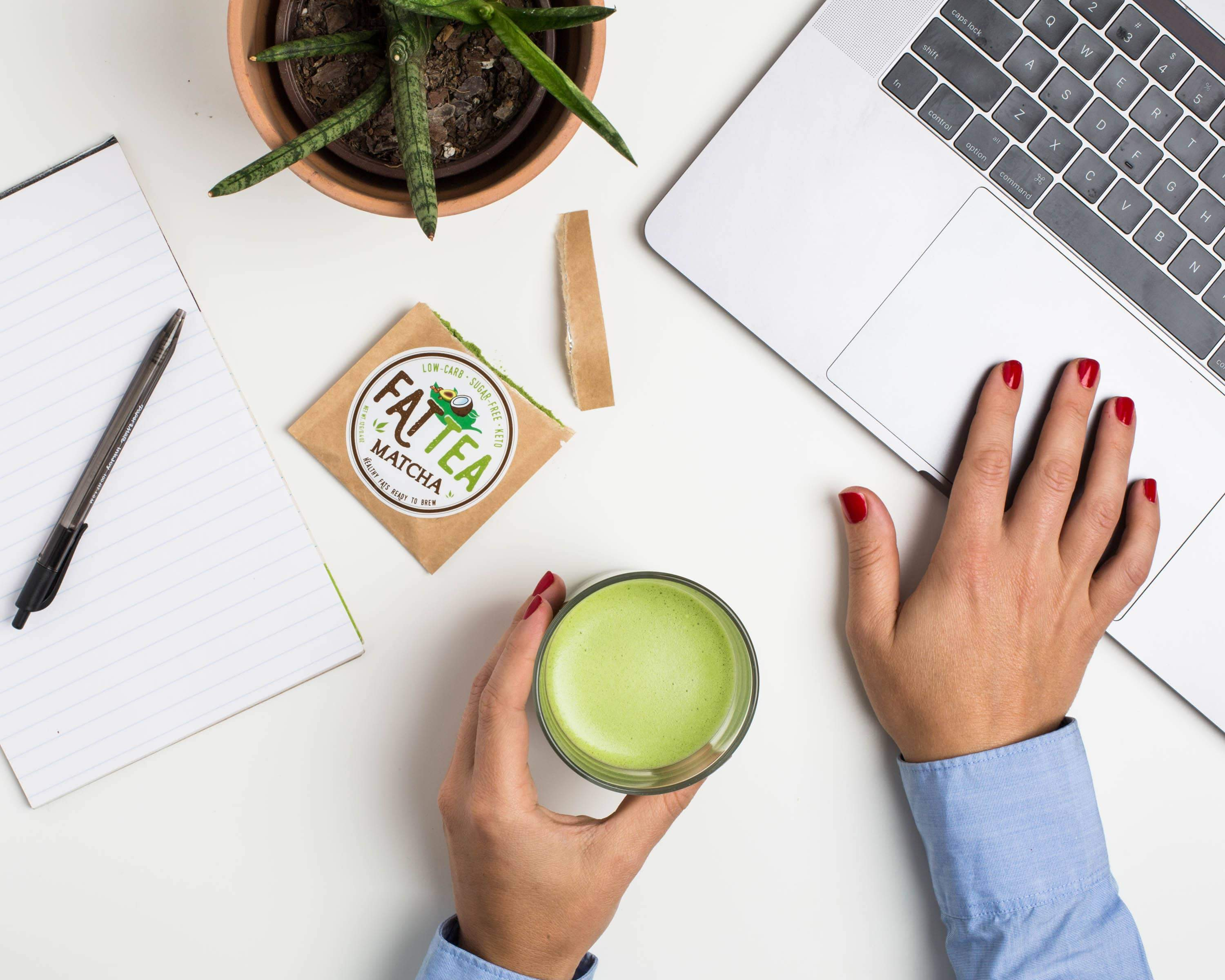 Fat Snax Low Carb and Sugar Free Keto Matcha Fat Tea for Productivity