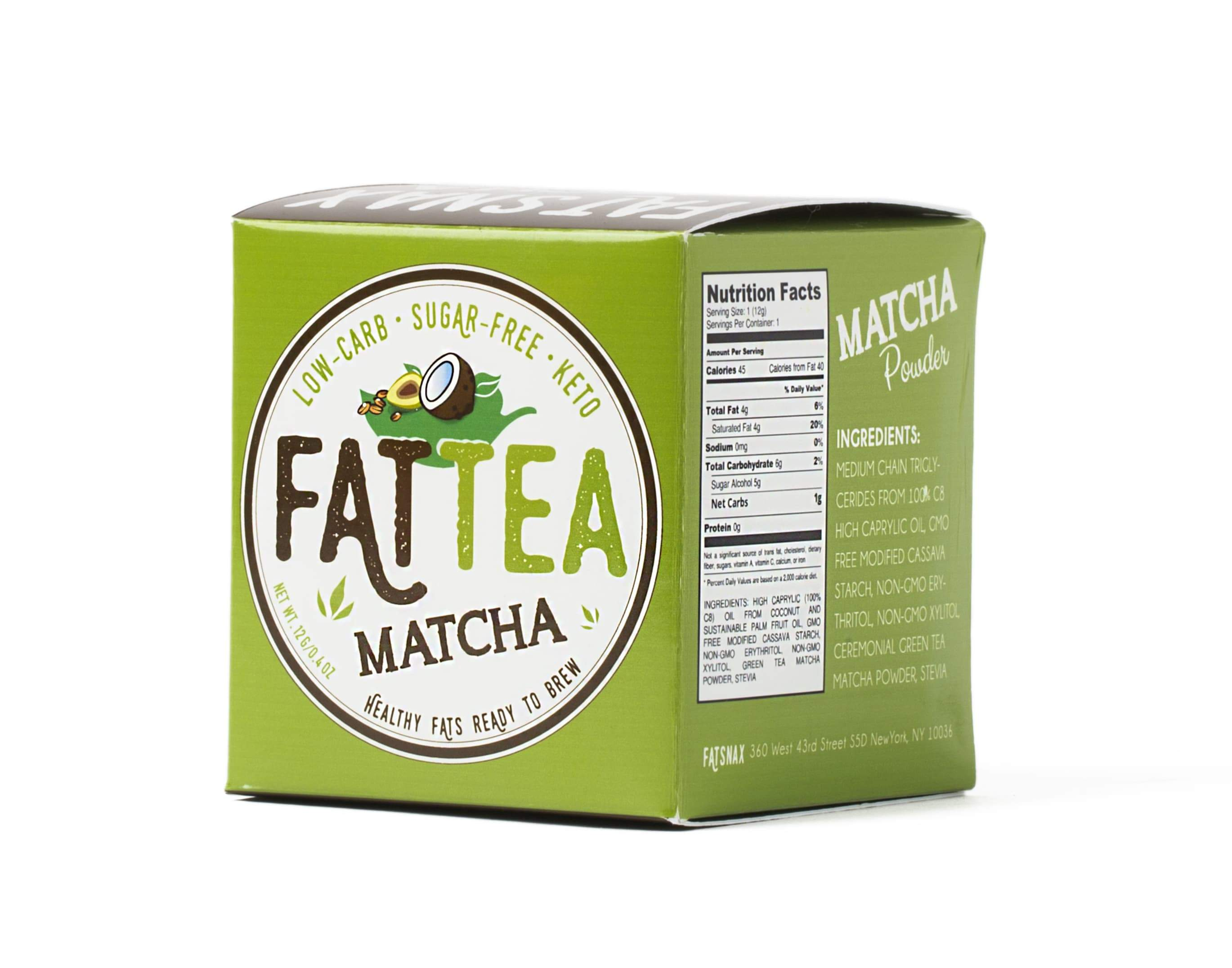 Fat Snax Ketogenic Matcha Fat Tea Box Front with MCTs for Ketosis