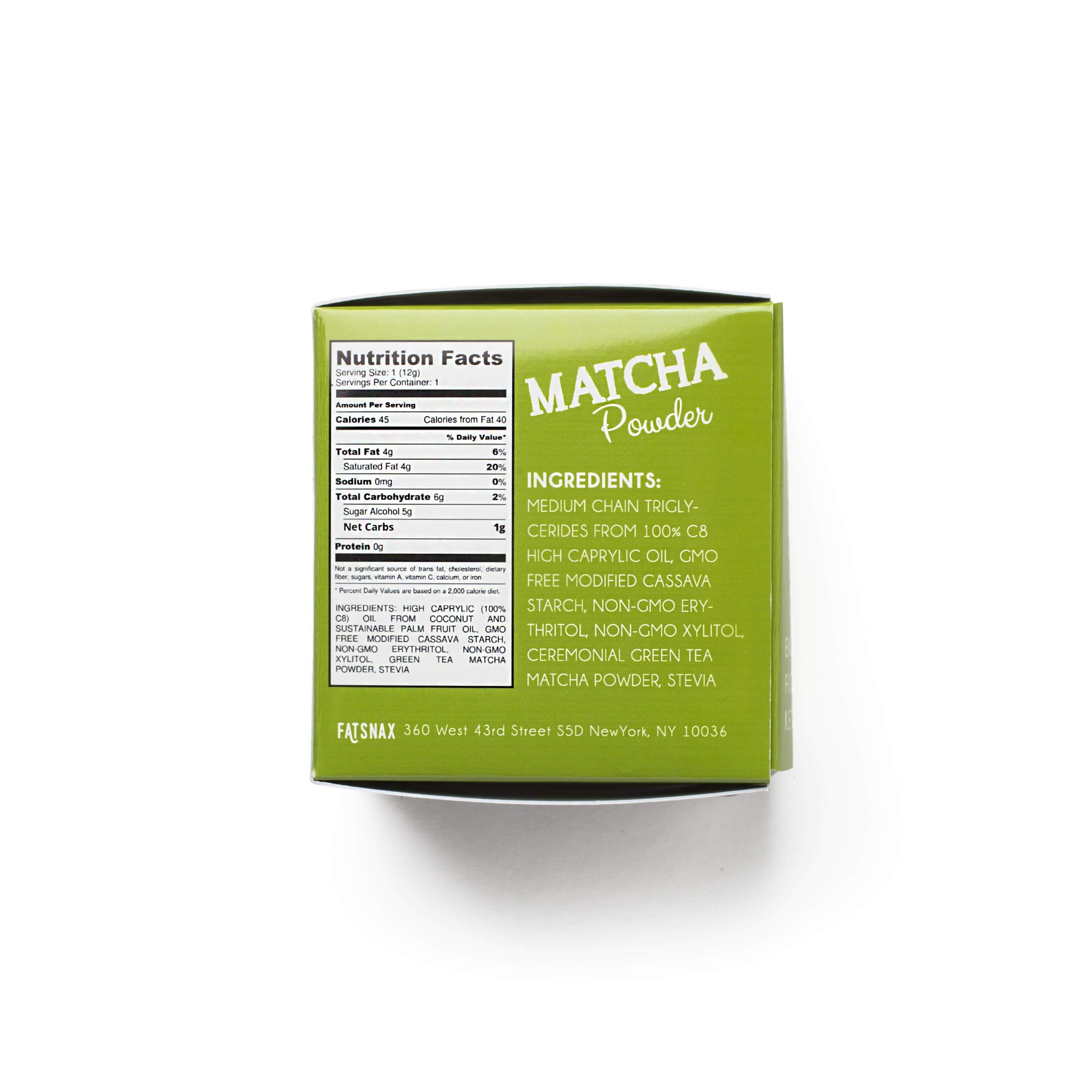 Fat Snax Keto Matcha Fat Tea Ingredients and Nutrition Facts on Box