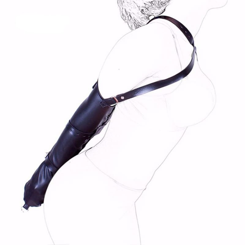 Absolute - PU Leather Over-Shoulder Adjustable Arm Binder Bondage Restraints Slave Lockable Glove Sleeves Armbinder Harness