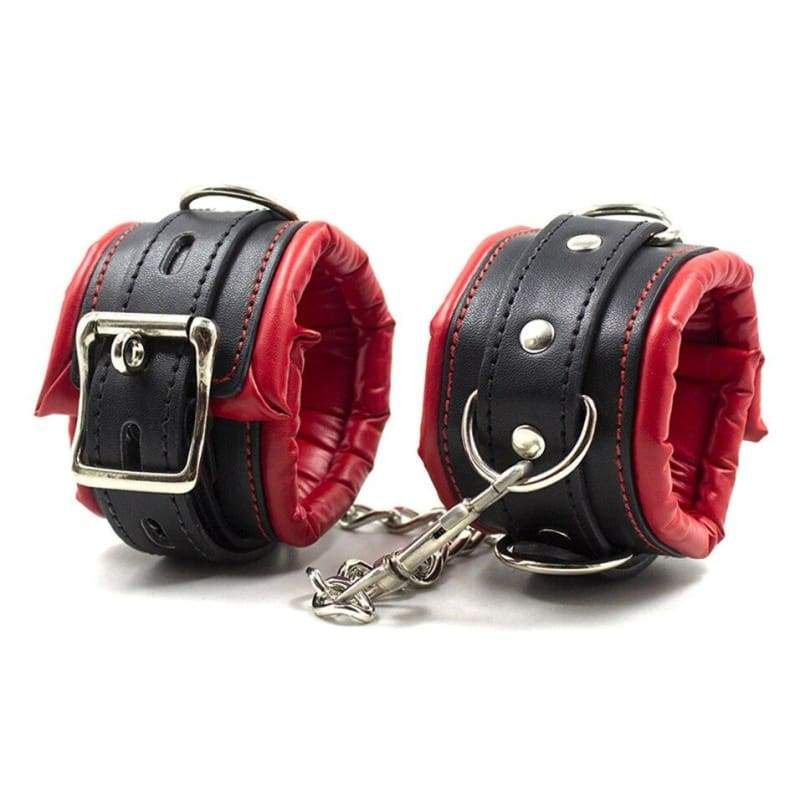 Behaved - Stainless Steel Restrict Bar Bondage Set Adjustable Soft Leather Padded Sex Slave Handcuffs Ankle Cuffs