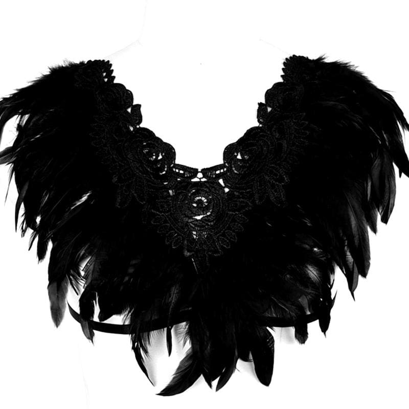 Black Swan - Handmade Luxury Feather Bra Gothic Aristocrat Dress