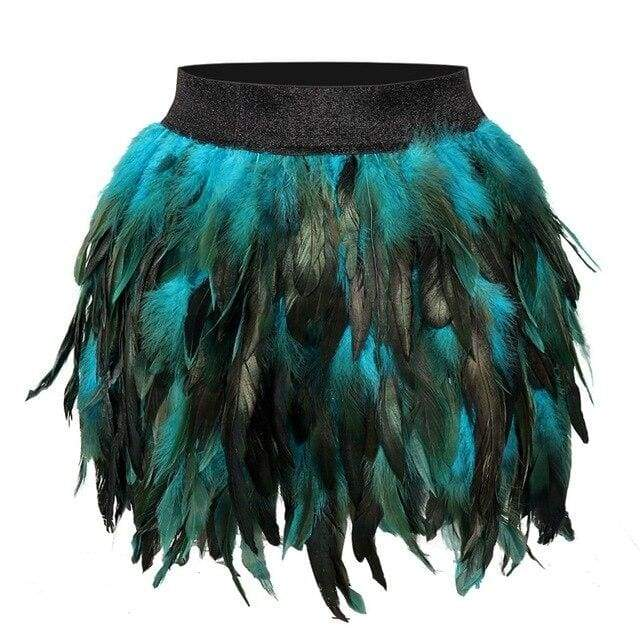 Black Swan - Handmade Luxury Feather Skirt Gothic Aristocrat Dress - PG0170 BLUE / One Size