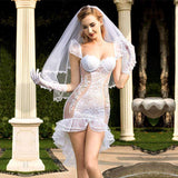 Bride - Deluxe Sexy Lingerie Set Fishtail Wedding Dress With Veil For Woman SL10