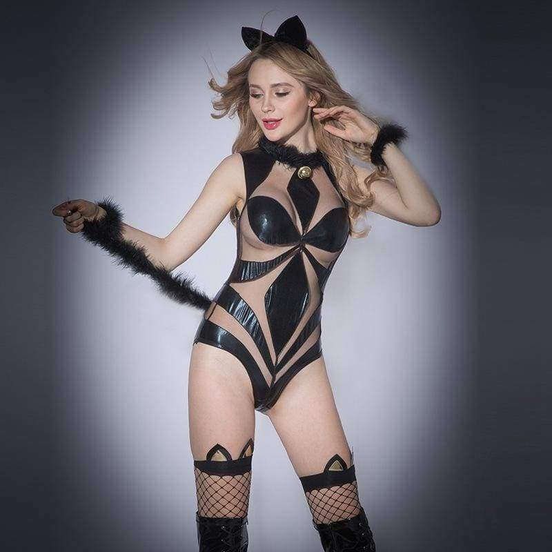 Cat Woman - Deluxe Sexy Lingerie Set With Ear & Tail Deco Erotic Costume For Woman SL10