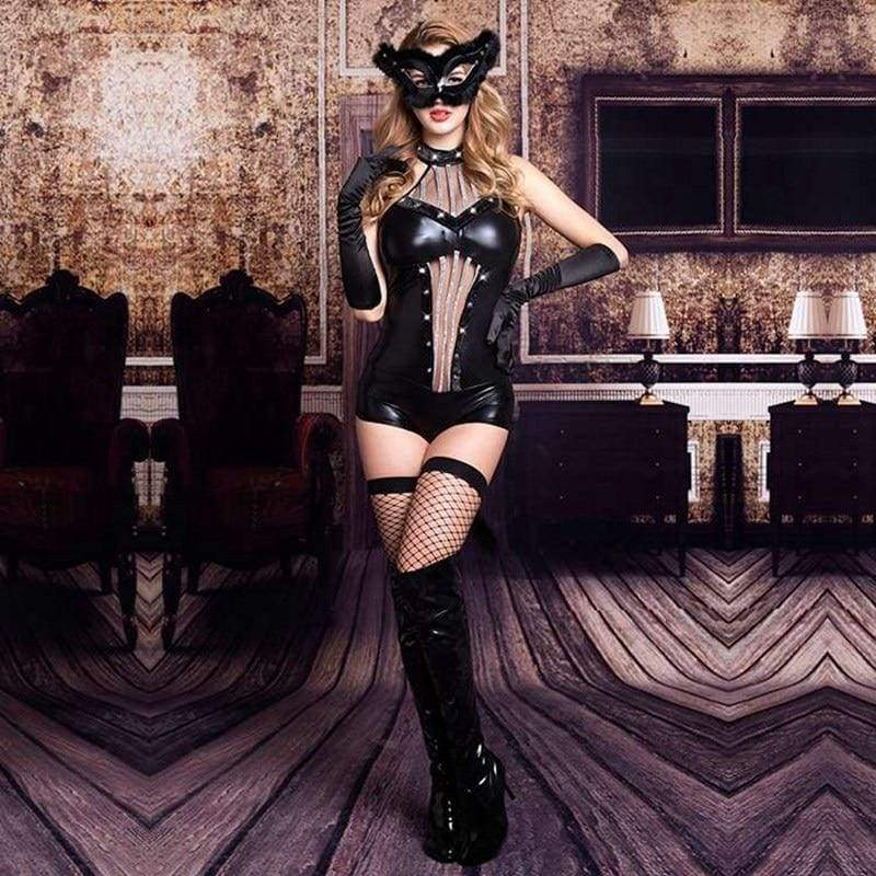 Catwoman II - PU Leather Sexy Lingerie Set With Mask Erotic Costume For Woman