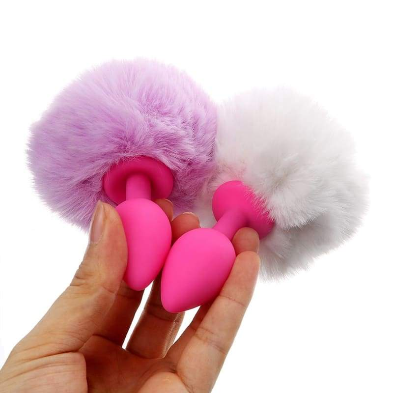 Cute Fluffy Bunny Tail Anal Plug Silicone Erotic Butt Plug Anal Sex Toys