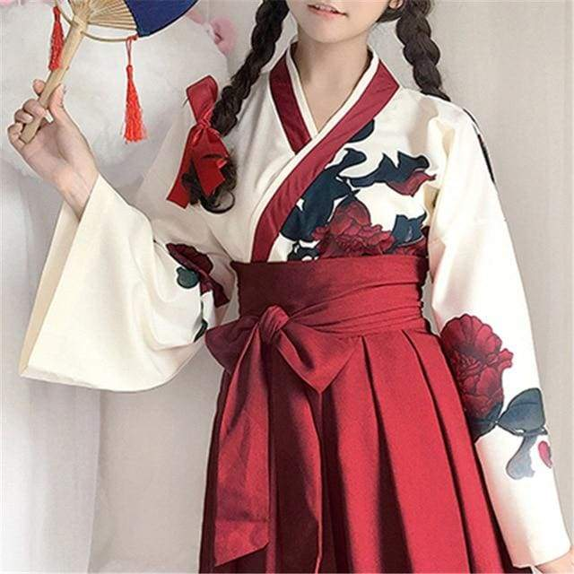 Cute Japanese Girls' Summer Yukata - Long Sleeve Floral Top + Skirt