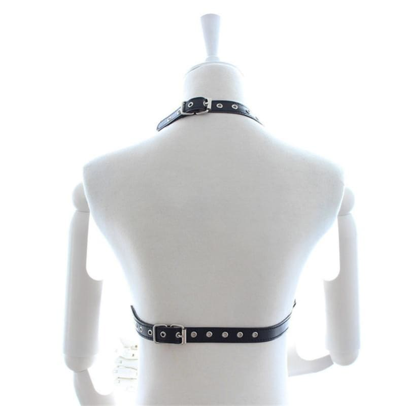 Dark Passion - Fetish Open Breast Body Harness Straps BDSM Erotic Cupless Studded Chains Teasing Sex Slave