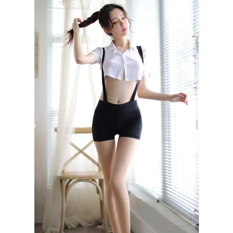 Double-head Zipper Suspender Short + Midriff-baring Shirt --- Sexy Lingerie Brief Suit