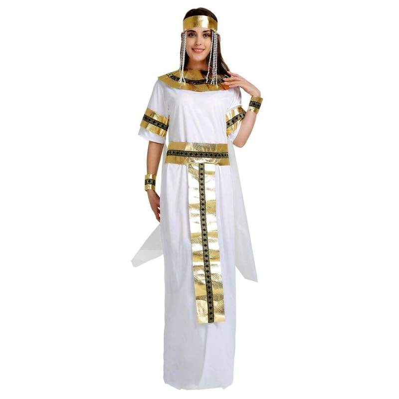 Egyptian Queen - Halloween Cosplay Cleopatra Costume Long Dress With Gold Accessories
