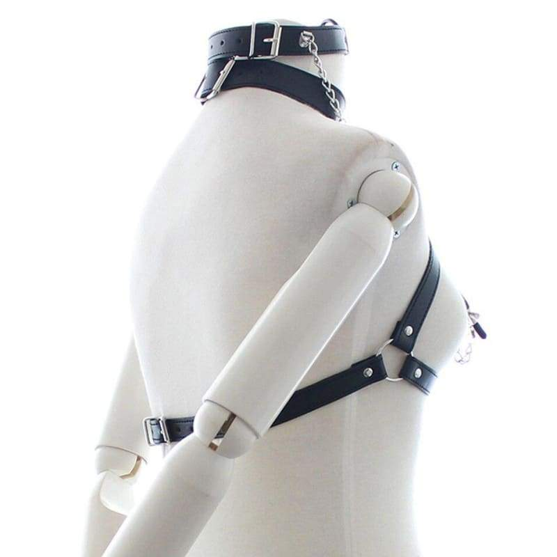 Eight - Fetish Neck Bondage With Nipple Chain Clamps PU Leather Erotic Chest Harness