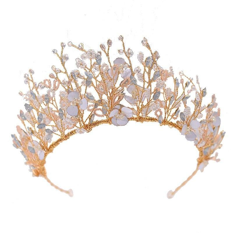 Fairy Flora Crown & Earings - Premium Handmade Bridal Wedding Jewelry