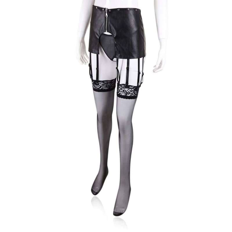 Governess - Open Hip Garter PU Leather T-back Adjustable Chastity Belts BDSM Perforated Panties