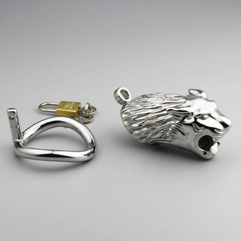 Jaguar-Shaped Handcraft Stainless Steel Cock Cage With Lock and Key