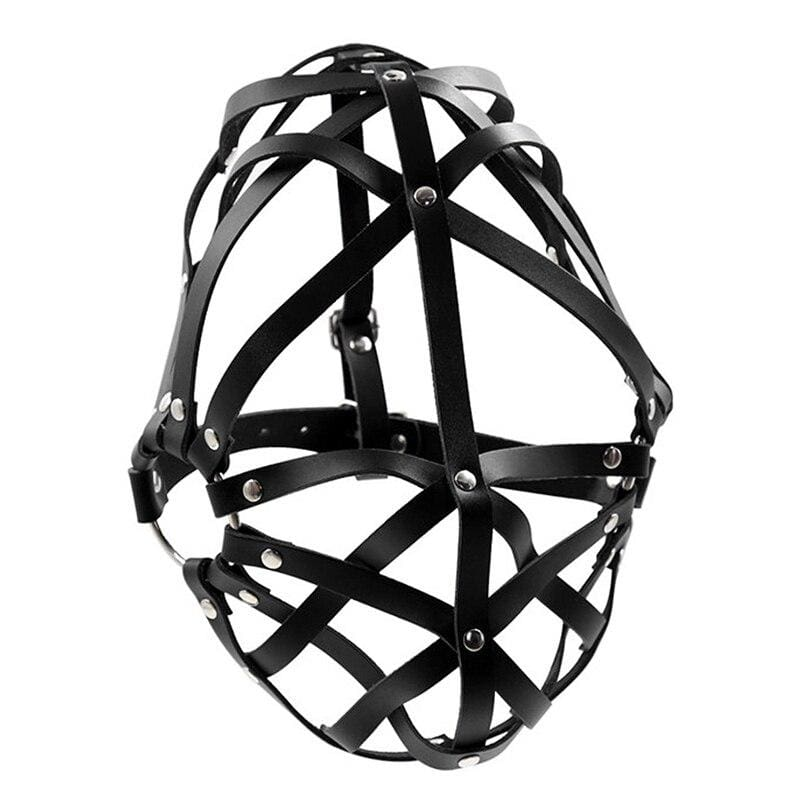 Mesh - Unisex Leather Strap Mask Open-Eye Slave Bondage