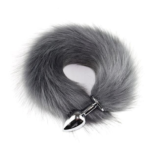 Metal Anal Plug Animal Role Play Cosplay Fox Tail Puppy Tail Erotic Sexy Butt Plug - gray