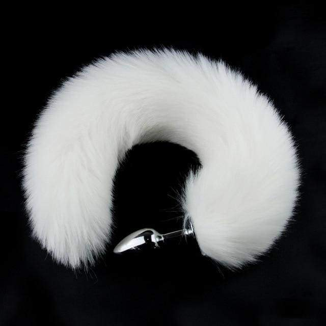 Metal Anal Plug Animal Role Play Cosplay Fox Tail Puppy Tail Erotic Sexy Butt Plug - white