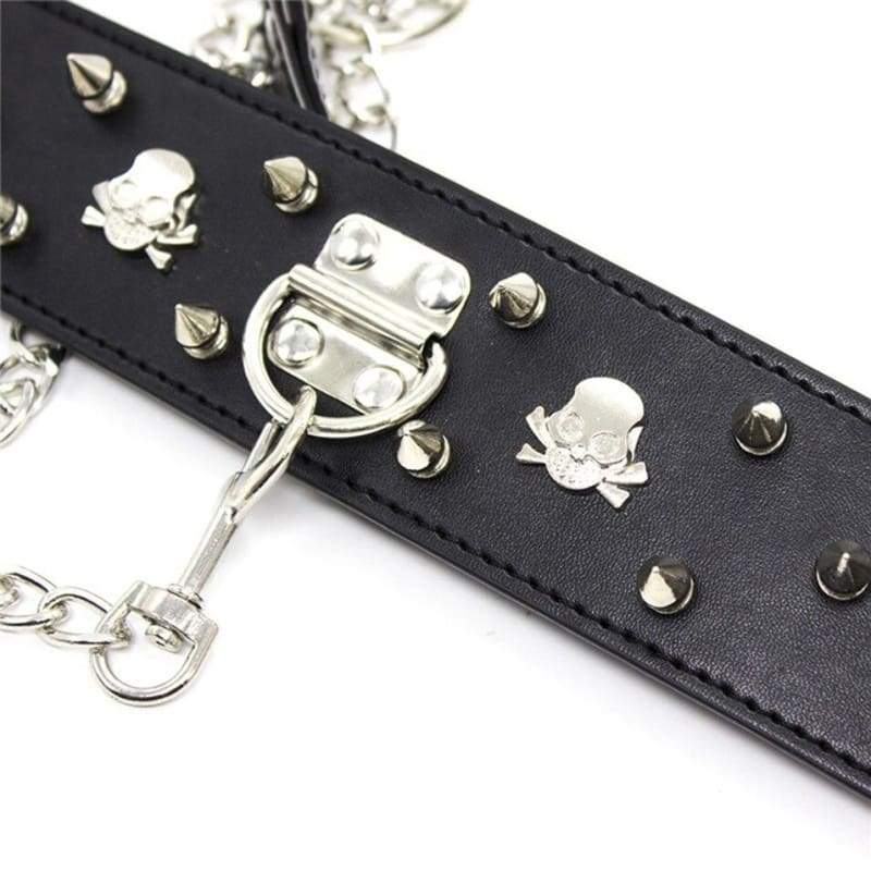 Necklace - Fetish PU Leather Metal Rivets Slave Neck Collar Bondage Adjustable Collar Choker With Chain Leash Restraints