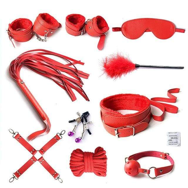 Over Game- 10pcs Set accesorii erotice Set reglabil nylon - roșu