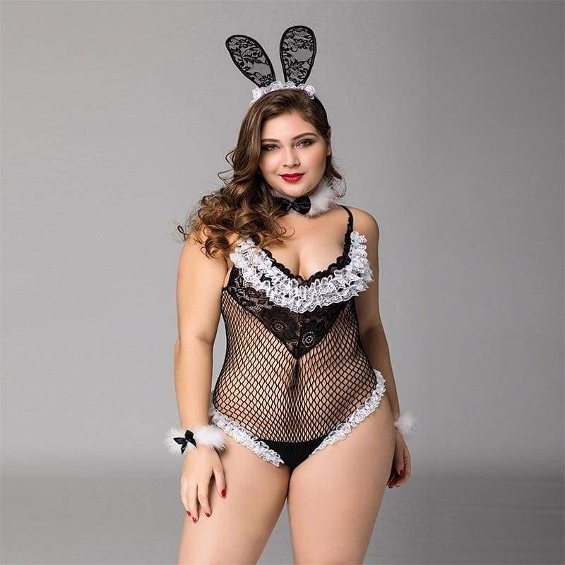 Plus Size Bunny Girl - Fishnet See Through Sexy Lingerie Set Erotic Costume