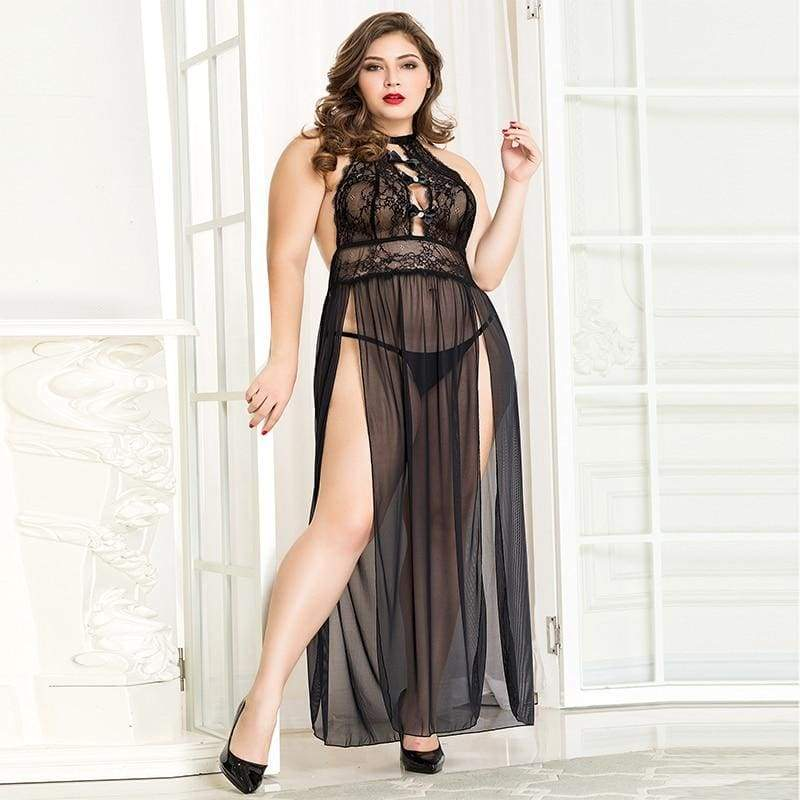 Plus Size Nightgown Black Dantelă Transparent Set Sexy Lenjerie Costum Erotic XXL