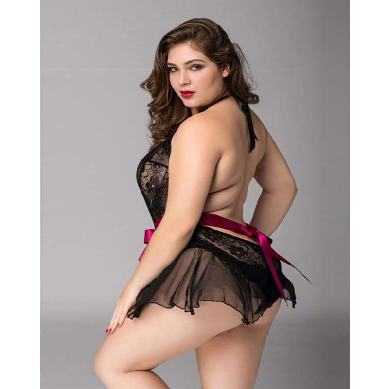 Plus Size Sexy Lingerie Lace Chiffon Backless Transparent Sleepwear XL