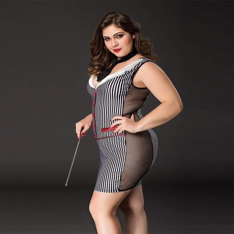 Plus Size Teacher - Vertical Stripe Two Side Transparent Sexy Lingerie Set Erotic Costume