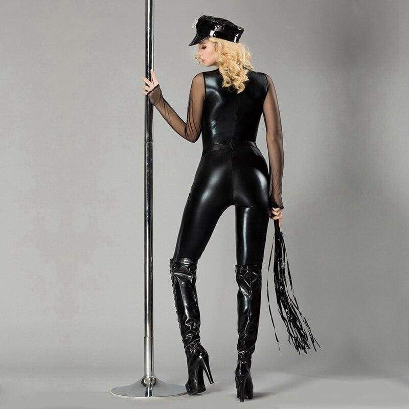 Policewoman - Erotic Costume Set With Handcuff & Whip Faux Leather Bodystocking For Woman
